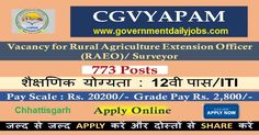 CG VYAPAM Recruitment 2017 Agriculture Extension Officer & Surveyors