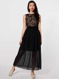 I want this for work | Black Chiffon Full Length Skirt | American Apparel