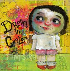 Dream in Color - mixed media art print by Mindy Lacefield. $18.00, via Etsy.