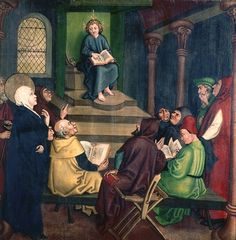 Title Jesus with the Doctors, from the Altarpiece of the Dominicans, c.1470-80 (oil on panel) Creator Schongauer, Martin (c.1440-91) (school of) Nationality German Location Musee d'Unterlinden, Colmar, France Medium oil on panel Date (C15th) Dimensions height: 115 cm
