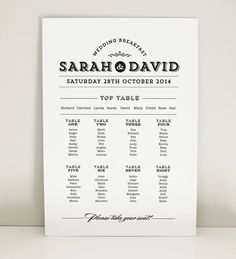 Winter Lights Wedding Table Plan  Seating Plan  Table Planner