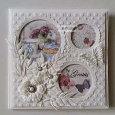 Maize's Card Making: White Card . Butterfly Cards, Flower Cards, Pretty Cards, Cute Cards, Tarjetas Stampin Up, Pop Up Greeting Cards, Fancy Fold Cards, Embossed Cards, Marianne Design