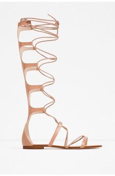 b281ddb36f0 Zara Natural Nude Pink Leather Lace Up  Gladiator  Sandals Blogger  Zara   Gladiator