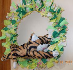 stripey tiger cat rag wreath