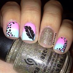 feather themed nail art