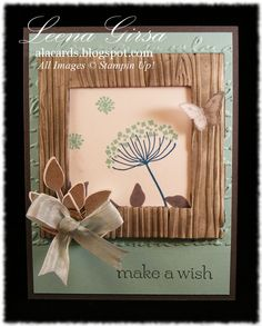 Stampin' Up! ... handmade card ... A La Cards: Faux Frame Challenge ,,, luv the look of aged barnwood for the frame ... wood grain embossing folder and sponging ...