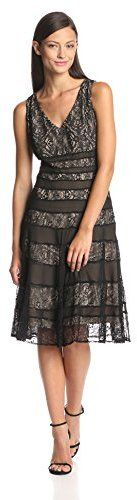 Anne Klein Women's Sleeveless V Neck Lace Fit and Flare Dress