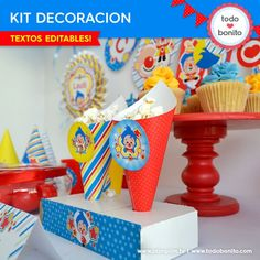 Plim Plim children's theme party - Celebrat : Home of Celebration, Events to Celebrate, Wishes, Gifts ideas and more ! Birthday Sweets, Party Sweets, Boy Birthday Parties, Party Cakes, 2nd Birthday, Clown Party, Party Decoration, Ideas Para Fiestas, Fiesta Party