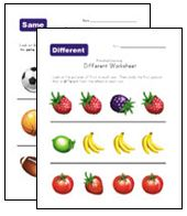 """preschool same different worksheets (Under """"Basic Concepts) Also other types of printable worksheets for a variety of ages and topics/subjects, etc."""