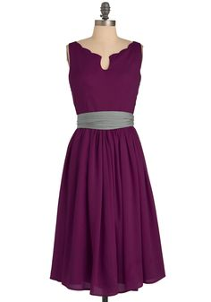 Effortless Allure Dress in Fuchsia - Formal, Wedding, Party, Purple, Solid, Bows, Pleats, A-line, Sleeveless, Grey, Scallops, Long, Vintage Inspired