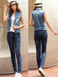 best sleeveless jean jacket women | Denim | Pinterest | Woman