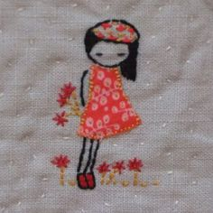Shy girl Hand embroidery pattern pdf by LiliPopo on Etsy, £2.50