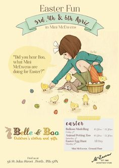 Belle and Boo promotional poster to showcase our newest stock and easter events which are happening instore.
