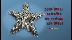 Cómo hacer estrellas de navidad con papel - How to make christmas stars ... Christmas Star, Xmas, Recycled Crafts, Diy Crafts, Christmas Decorations, Christmas Ornaments, Holiday Decor, Paper Weaving, Waste Paper