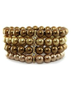Light Gold, Bronze, Taupe (brown) Pearl Bracelet with Rhinestone #shoplately