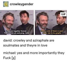 Michael Sheen and David Tennant look like how I imagine Aziraphael and Crowley look after 6001 years of marriage and saving the world from the apocalypse exactly one time. Michael Sheen, Film Anime, Good Omens Book, Memes, Terry Pratchett, This Is A Book, David Tennant, Crowley, Book Fandoms