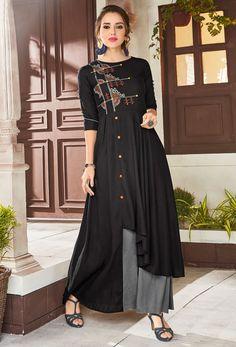 Shop readymade viscose,rayon designer kurti in black,grey , freeshipping all over the world , Item code kudlt25
