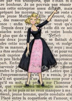 Paris 1957  Eloise In Black and Pink  Original by CastleOnTheHill, $19.50