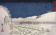 Hiroshige, Snow falling on a town, c.1833, Ukiyo-e print  public domain  Uploaded by: Petrusbarbygere from Wikimedia Commons (original