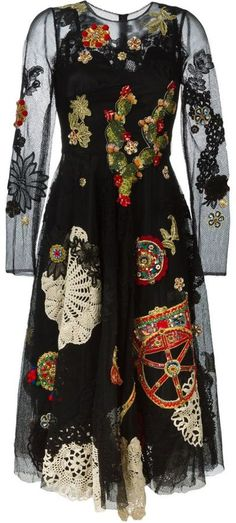 Dolce & Gabbana black and multicolor silk-cotton blend embroidered mesh dress.