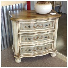 Shabby Chic Hand Painted 3 Drawer Accent Chest. Perfect for a night stand or large end table! Click our site to view more of our furniture! www.accentprone.com