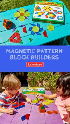 Boost with our Magnetic Pattern Block Builders! With magnets built right into the edges, our easy-connect pattern blocks encourage hours of creative building fun! Introduction To Geometry, Lakeshore Learning, Summer Activities For Kids, Child Love, Pattern Blocks, Summer Fun, Magnets, Kids Rugs, Shapes