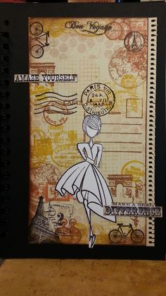 collage background stamping - dress stamp from dylusions - head from doll stamp (prima) - backgroundstamps from several brands - text stamps from tim holtz