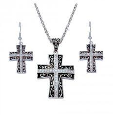 Rhinestone Cross set in Antiqued Filigree Jewelry Set (JS1185)