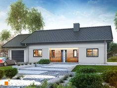 Dom w kostrzewach Bungalow Conversion, Modern House Design, Home Fashion, My Dream Home, Future House, Home Remodeling, Facade, House Plans, Sweet Home
