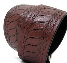 Dark Chocolate Brown Leather Dog Collar with Etching by Greenbelts