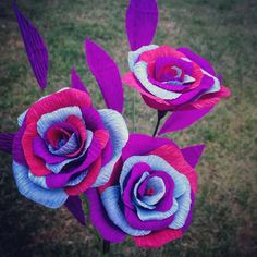 Items similar to Purple, Pale Blue and Pink rose crepe paper flower collection with purple foliage. Custom orders available. on Etsy Paper Roses, Crafty, Bird, Unique Jewelry, Handmade Gifts, Plants, Bright, Etsy, Instagram