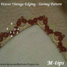 Tatting Patterns I : 4 Vintage Edgings. Waves vintage edging with inked tatting pattern Needle Tatting, Tatting Lace, Wire Jewelry, Jewelry Art, Project 4, Linens And Lace, Tatting Patterns, Lace Making, Bobbin Lace