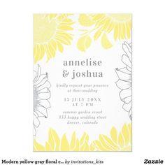 Modern yellow gray floral chic elegant wedding invitation