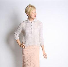 1960s Sweater // Warm Lavender Wool Sweater // by dethrosevintage, $45.00