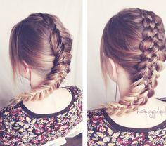 HAIR BY JUL- blog o włosach. Fryzury, tutoriale, inspiracje: Dobierany odwrócony kłos krok po kroku
