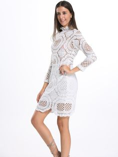 ad6cf71a132 Choies Womens Black White Lace Bodycon Mini Dress With Long Sleeve S      Visit