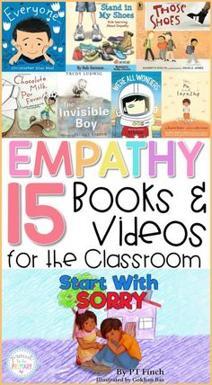 15 empathy books and videos for the classroom to teach kids about empathy, compassion, inclusion, and community. Teachers can use these social awareness books and videos during social-emotional learning lessons and activities with kids. #empathy #emapthybooks #socialemotionallearning #charactereducation #booksforkids #videosforkids #empathyactivities #socialskills #socialresponsibility
