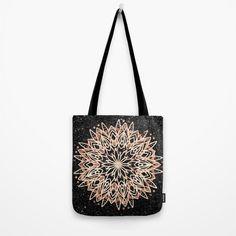 Metallic Mandala Tote Bag by beebeedeigner Black Marble Background, Indie Art, Visionary Art, Easy Gifts, Bee, Mandala Design, Metallic, Copper, Tote Bag
