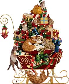 CHRISTMAS KITTY SLEIGH CLIP ART