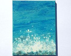 Abstract fluid painting, abstract ocean painting with sea foam, and wave, vertical 11x14 inch painting