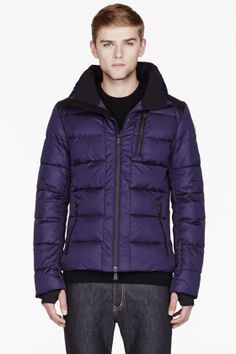 Moncler Royal Purple Quilted Down Soulare Jacket for men | SSENSE