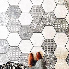 Hexagon Floor Tile In Shades Of Gray