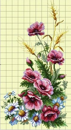 Beaded Cross Stitch, Cross Stitch Flowers, Cross Stitch Charts, Cross Stitch Embroidery, Cross Stitch Patterns, Crochet Flowers, Fabric Flowers, Quilling Designs, Embroidery Patterns Free