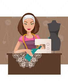Buy Dressmaker Woman by artbesouro on GraphicRiver. Cartoon seamstress in the studio working on the sewing machine Business Slogans, Become A Fashion Designer, Puff And Pass, Business Outfits, Business Clothes, Clothes Crafts, Illustrations And Posters, Pictures To Draw, Design Crafts