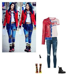 """Bella Thorne"" by littlesweetheart123 ❤ liked on Polyvore featuring Trunk LTD, AG Adriano Goldschmied, Lands' End, HUF, Yves Saint Laurent, Dr. Martens and plus size clothing"