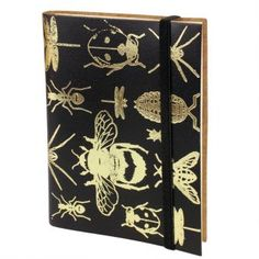 Leather notebook with gold bug print.
