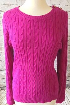 Ralph Lauren Sport Sweater Size XL Hot Pink Cable Knit 100% Cotton ...