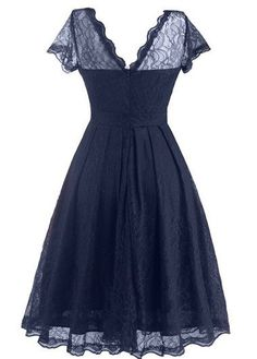Cap Sleeve Navy Blue Lace A Line Dress | Rosewe.com - USD $27.51