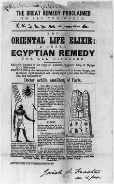 The Oriental Life Elixir: A Great Egyptian Remedy for All Diseases; 1849