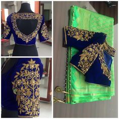 Silk Sarees with maggam work blouses. To order pls whatsapp on 9573737490 Wedding Saree Blouse Designs, Best Blouse Designs, Blouse Neck Designs, Wedding Blouses, Dress Designs, Hand Work Blouse, Zardosi Work Blouse, Saree Blouse Patterns, Blouse Models